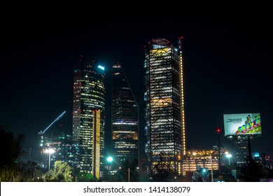 MEXICO CITY, MEXICO - January 26 of 2017: Torre Reforma, Torre Mayor and Torre BBVA Bancomer Skyscrapers at Reforma Avenue at night