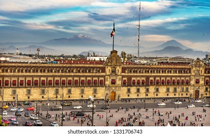 MEXICO CITY, MEXICO - JANUARY 3, 2019 Presidential National Palace Balcony Snow Mountain Monument Zocalo. Palace built by Cortez in 1500s. Balcony where Mexican President Appears.