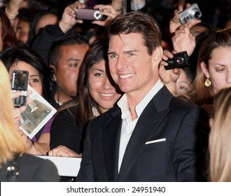 """MEXICO CITY - JANUARY 5, 2009:  Actor Tom Cruise attends the """"Valkyrie"""" red carpet premier at Cinemex Santa Fe Mall, Mexico, City, Mexico."""