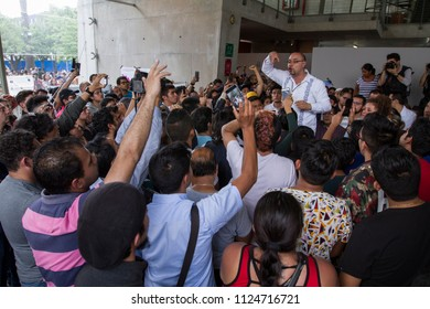 Mexico City. July 1, 2018. An electoral authority speaks with the annoyed citizens who weren't able to vote because the electoral ballots of the special polling place weren't enough.