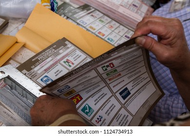 Mexico City. July 1, 2018. Electoral ballots during mexican presidential election.