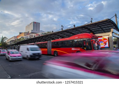 Mexico City - July 12, 2018: panoramic view of a metrobus station in the city near the famous Forum Buenavista shopping center with a beautiful sunset background