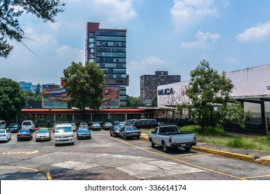 MEXICO CITY - JULY 15, 2015: View of National Autonomous University of Mexico (Universidad Nacional Autonoma de Mexico, UNAM). UNESCO World Heritage Site.