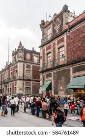 MEXICO CITY - JULY 15, 2015: Crowded Downtown Street of the Mexico City.