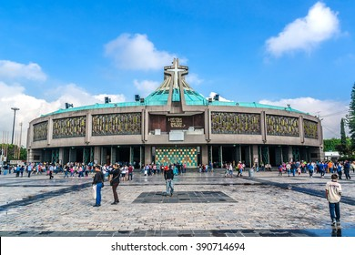 MEXICO CITY - JULY 19, 2015: Modern Basilica of Our Mary of Guadalupe (1974). Basilica is one of most important pilgrimage sites of Catholicism, is visited by several million people every year.