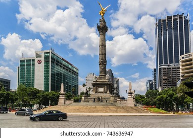 MEXICO CITY - JULY 19, 2015: View of Paseo De La Reforma in Mexico City. Paseo de la Reforma is a wide avenue that runs diagonally across the heart of Mexico City.