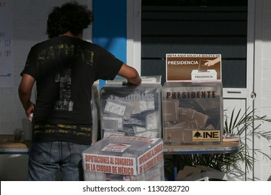 Mexico City July 1st 2018 Polling stations and ballot boxes during elections in Mexico.