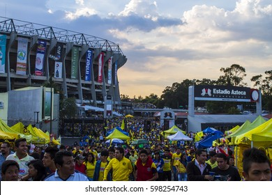 Mexico City, Mexico - July 26, 2014: America fans leaving Azteca stadium