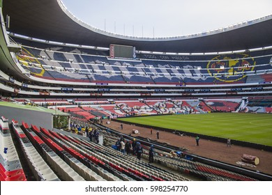 Mexico City, Mexico - July 26, 2014: Azteca stadium seats panoramic view