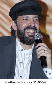 """MEXICO CITY, MEXICO- JULY 31: Singer Juan Luis Guerra attends His Latest  World Wide Tour """"La Travesia (THe Journey),"""" press conference at Camino Real Hotel July 31, 2009, in Mexico, City, Mexico."""