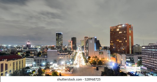 Mexico City, Mexico - July 5, 2016: Mexico City Skyline at night from the Monument to the Mexican Revolution.