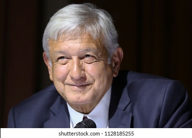 Mexico City July 5 2018 Andrés Manuel López Obrador, virtual elected president of Mexico in period 2018-2024 speaks in a press conference.
