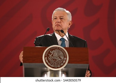 Mexico City, Mexico July 5th 2019. Andrés Manuel López Obrador, mexican president attend his press conference in National Palace.