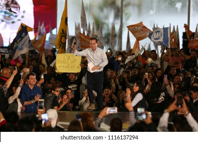 "Mexico City, June 13 2018 Ricardo Anaya Cortés, presidential candidate of ""For Mexico in front"" coalition of political parties, speaks to his supporters in a public meeting."
