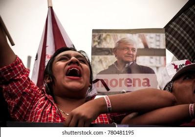 Mexico City, Mexico. June 15 2015: Andres Manuel Lopez Obrador gives a speech in Mexico city about his own political party MORENA