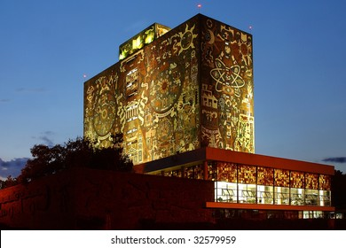 MEXICO CITY - JUNE 15: Night view of the Universidad Nacional Autonoma de Mexico, UNAM, on June 15, 2009 in Mexico City. UNAM has been awarded the 2009 Principe de Asturias award.