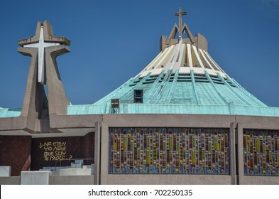 Mexico City, Mexico - June 19, 2013: Modern Basilica of Our Mary of Guadalupe (1974). Basilica is one of most important pilgrimage sites of Catholicism.