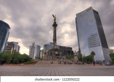 MEXICO CITY, MEXICO - JUNE 19, 2018: The Angel of Independence is an important monument that was built to commemorate Mexico's war for independence and is now a very popular landmarks in Mexico.