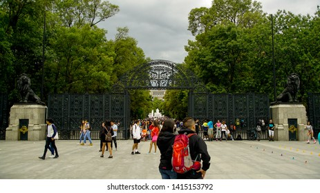 Mexico City, June 2, 2019. Entrance to Chapultepec Park, open to the public. There is a lion statue on each side.