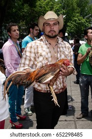 MEXICO CITY, MEXICO - JUNE 2012: A participant dressed up at the annual LGBT pride parade.