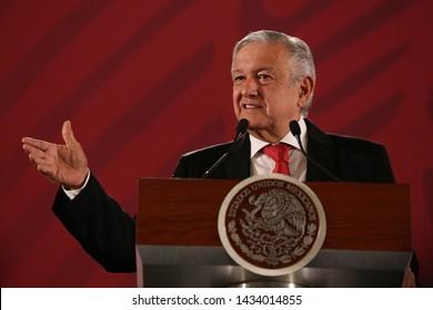 Mexico City, Mexico June 25 2019. Andrés Manuel López Obrador, president of México attend his every morning press conference in Palacio Nacional.