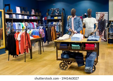MEXICO CITY - June 27, 2014: Pepe Jeans retail store inside. Pepe Jeans London is a denim and casual wear jeans brand established in the Portobello Road area of London in 1973.