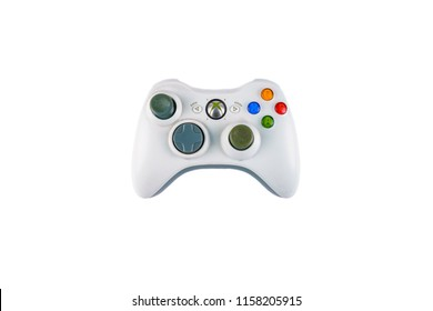 Mexico City, Mexico - June 29, 2018: Isolated The Microsoft Xbox 360 controller wireless, a gamepad for the Xbox.