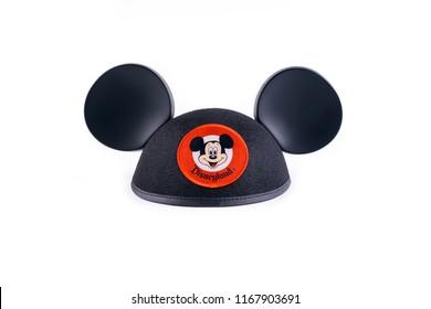 Mexico City, Mexico - June 29, 2018: Isolated Disneyland Mickey ear hat.