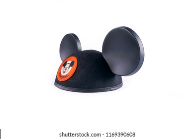 Mexico City, Mexico - June 29, 2018: Isolated Disneyland Mickey ear hat.