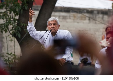 "Mexico City, June 3rd, 2018. Andres Manuel Lopez Obrador, mexican presidential candidate of the ""Together we will Make History"" coalition speaks to his supporters in a public meeting."