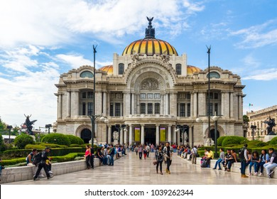 Mexico City / Mexico - June Circa 2017: The palace of the fine arts is one of the most important historical constructions. More than a thousand of people visit this cultural site each week.