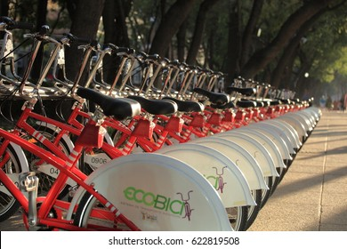 Mexico City, Mexico - March 02, 2010: A Row of bicycles from EcoBici in the Reforma Avenue in Mexico City