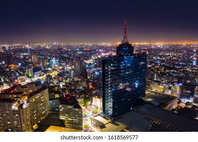 Mexico City - March 12, 2019: Panoramic aerial view of the iconic building of the World Trade Center in Mexico City on a night full of light