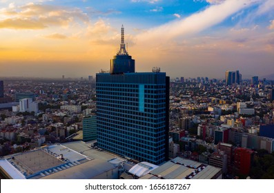 Mexico City - March 12, 2019: Panoramic aerial view of the iconic building of the World Trade Center in Mexico City on a day with a beautiful sunset