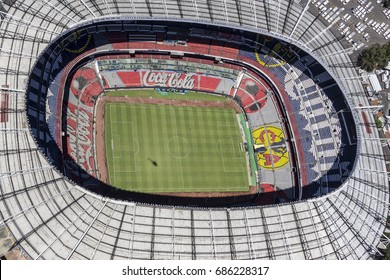 MEXICO CITY - March 16, 2015: aerial view of the inside of Estadio Azteca, soccer field of america team and biggest mexican stadium, venue for many events soccer field