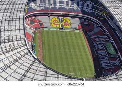 MEXICO CITY - March 16, 2015: aerial view of the inside of Estadio Azteca, soccer field of america team and biggest mexican stadium, venue for many events