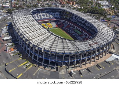 MEXICO CITY - March 16, 2015: aerial view of aztec stadium or  Estadio Azteca, soccer field of america team and biggest mexican stadium, venue for many events