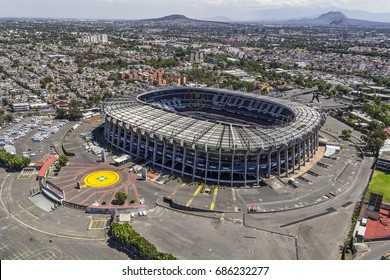 MEXICO CITY - March 16, 2015: aerial view of mexico biggest stadium, the  Estadio Azteca, home to the soccer team america and venue for many events and concerts, located in the south of town
