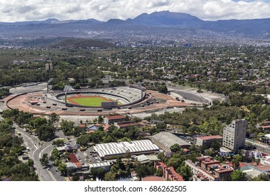 MEXICO CITY - March 16, 2015: aerial view of the campus of National Autonomous University of Mexico UNAM  showing sport facility, soccer and football stadium, that once was olympic venue