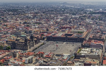 MEXICO CITY - March 16, 2015: aerial view of mexico city main square zócalo, with overview of mexican federal government main headquarters and metropolitan cathedral