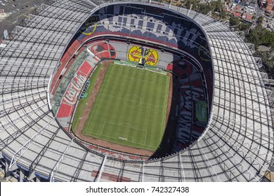 Mexico City, March 16, 2015: aerial view of azteca stadium almost above the field, home to america soccer team