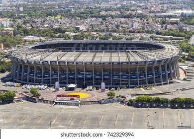 Mexico City, March 16, 2015: aerial view of azteca stadium, home to america soccer team