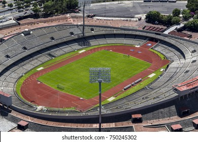 MEXICO CITY - March 16, 2015: aerial view of empty stadium  part of university campus of the national university, used for soccer and football games and other events, home to pumas team