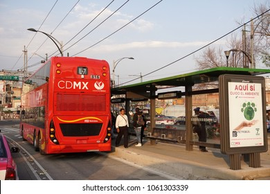 MEXICO CITY, MEXICO - MARCH 18 2018 - The double-deckers, often referred to London buses, the new Metrobus fleet running on Line 7, a route along Paseo de la Reforma Avenue between the Campo Marte