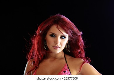 """MEXICO CITY - MARCH 31 2009: Mexican Singer Dulce Maria on set for Akon's """"Beautiful"""" music video shoot at CTT Foro on March 31, 2009 in Mexico City."""