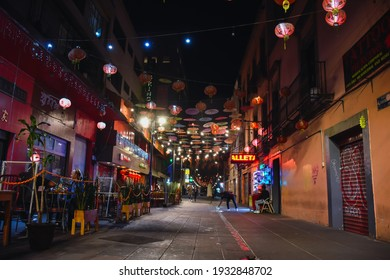 Mexico City, Mexico ; March 8 2021:  Chinatown of Mexico City at night