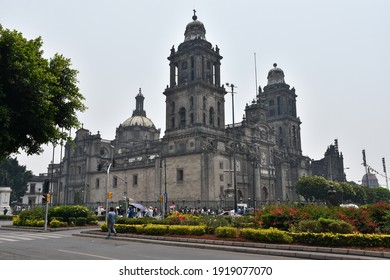 Mexico City, Mexico - May 13, 2019: The Catedral Metropolitana (Metropolitan Cathedral), one of the city's biggest tourist attractions.