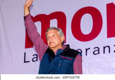 Mexico City, Mexico. May 2018. Andres Manuel Lopez Obrador stumps throught Mexico and gives a speech about his own political party MORENA, trying to win voters.