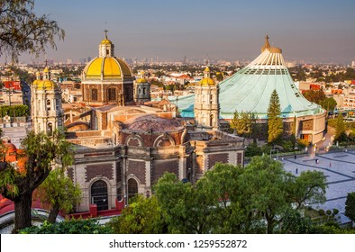 Mexico City. Mexico, may 2018.Old and New Basilicas Our Lady of Guadalupe, from Gardens of Tepeyac, Mexico City, Mexico