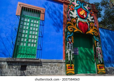 Mexico City, Mexico - May 23, 2021: The famous Frida Kahlo Museum. The Blue House (La Casa Azul) is a historic house museum dedicated to the life and work of the Mexican artist Frida Kahlo